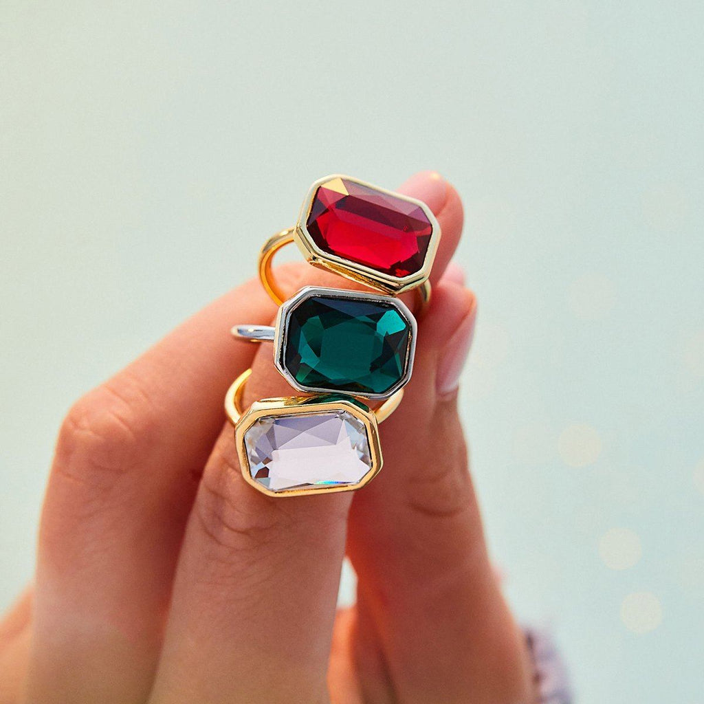Emerald Crystal Dylan Cocktail Ring