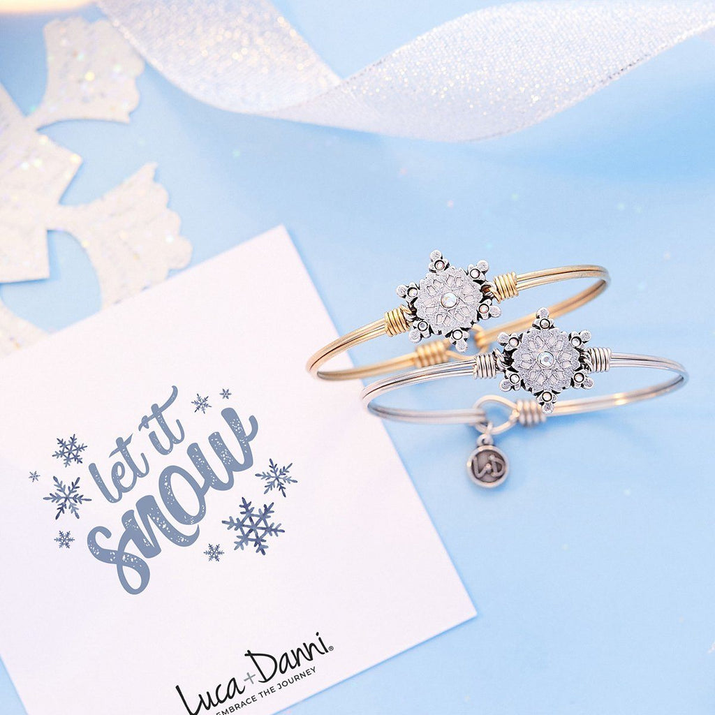 Sparkling Snowflake Bangle Bracelet