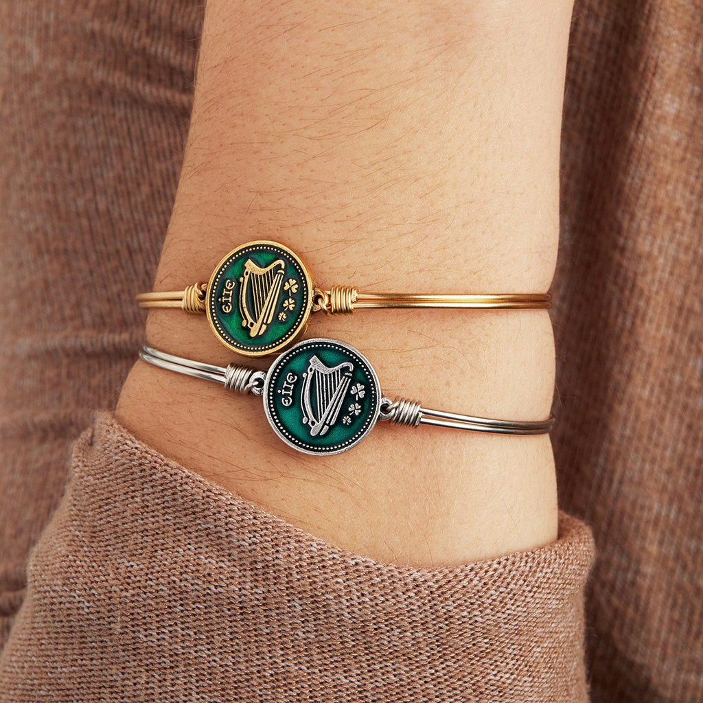 Irish Harp Bangle Bracelet choose finish: