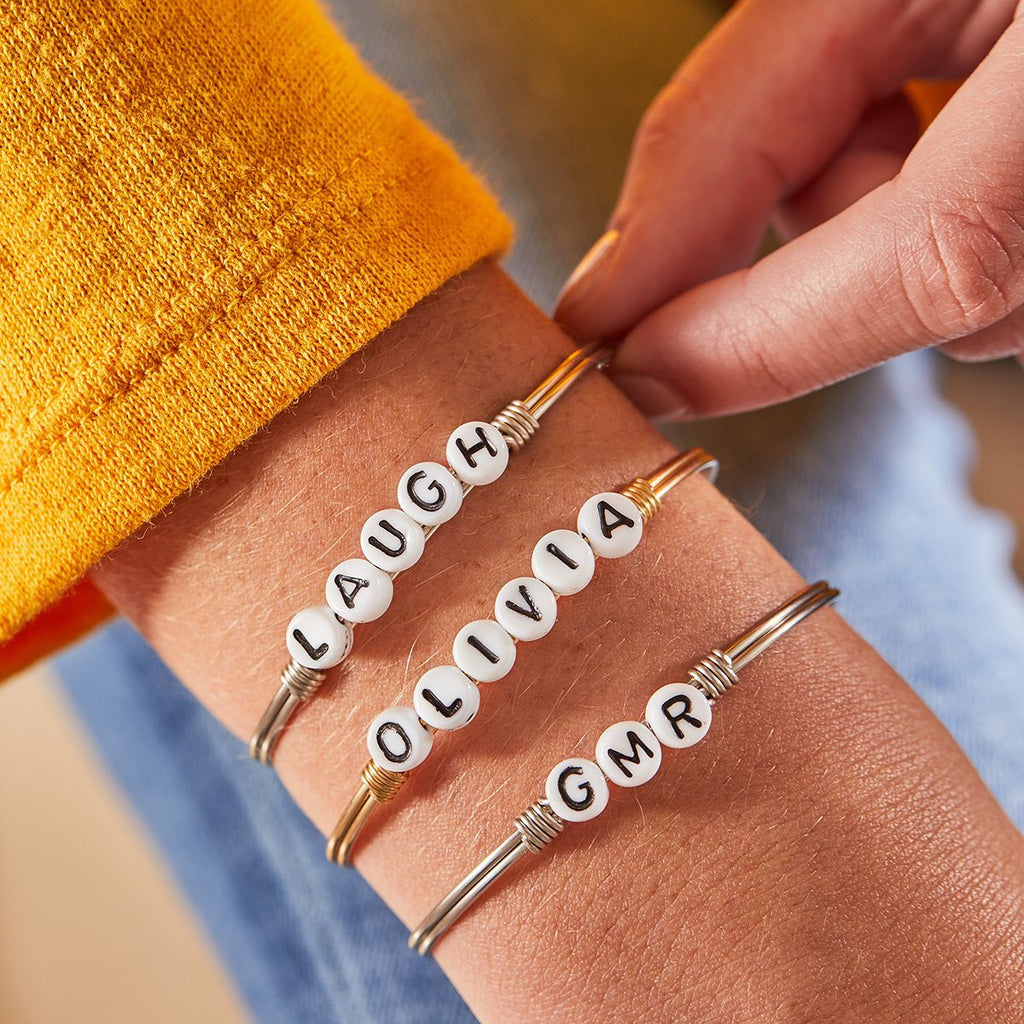 Personalized Letter Bead Bangle Bracelet