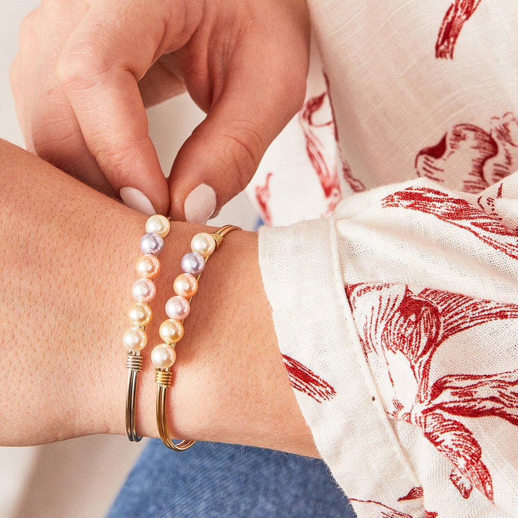 Ombre Crystal Pearl Bangle Bracelet
