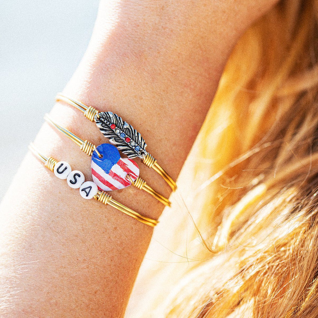 Americana Crystal Feather Bangle Bracelet