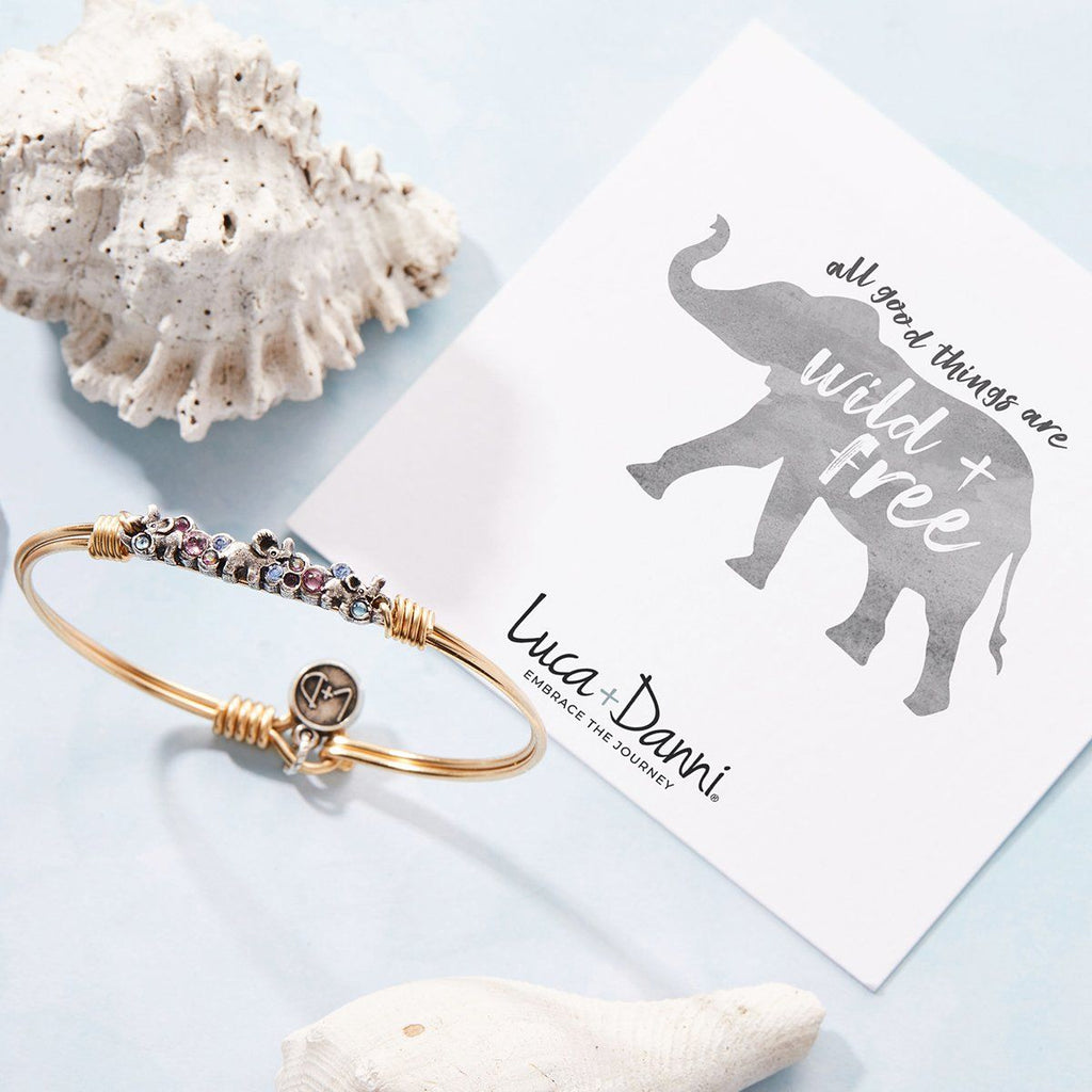 Elephant Medley Bangle Bracelet