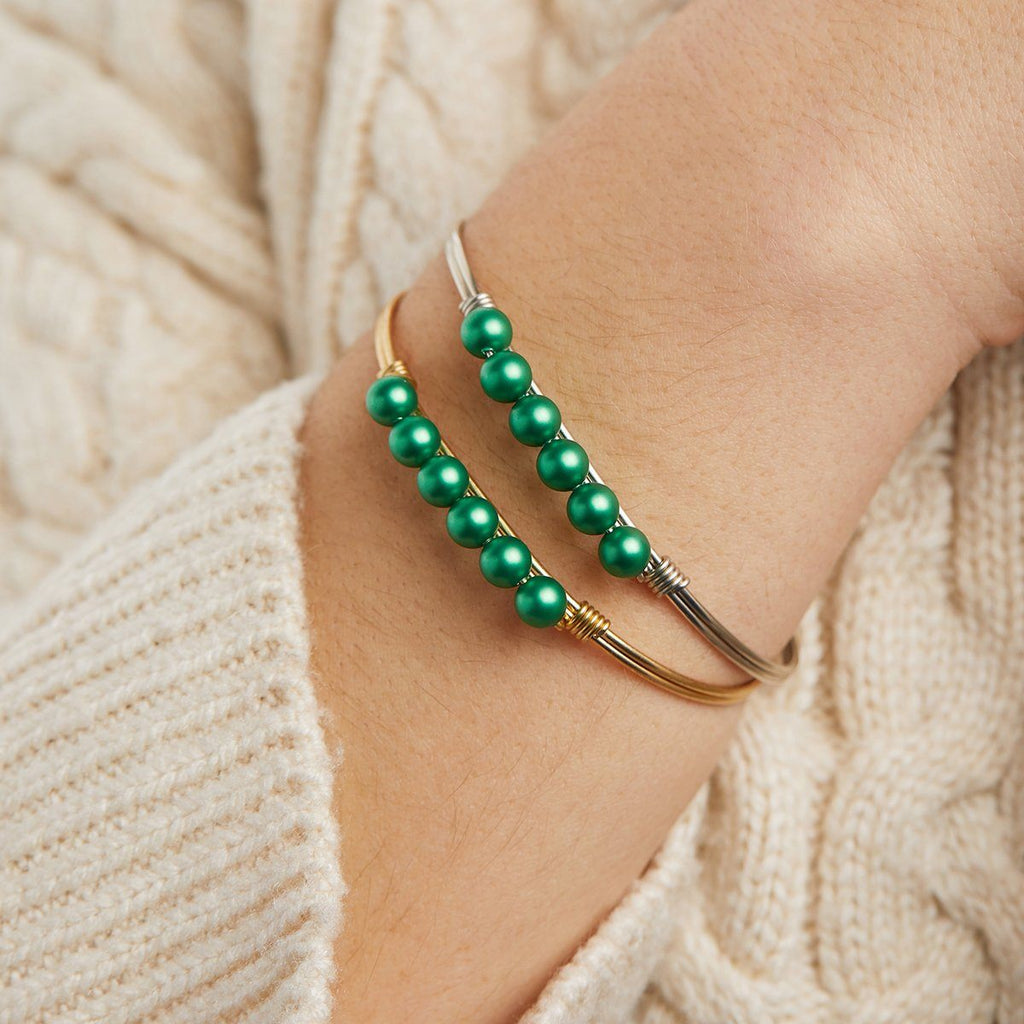 Crystal Pearl Bangle Bracelet in Shamrock choose finish: