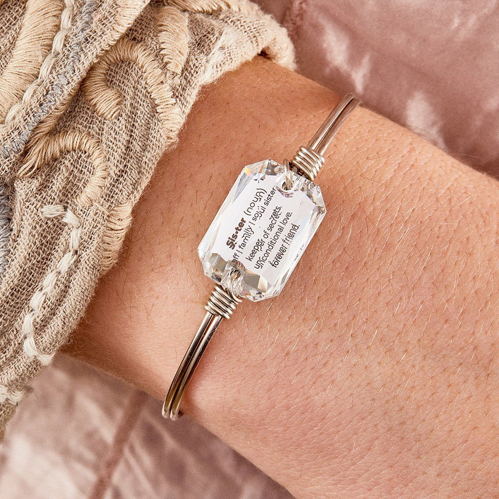 Sister Definition Bangle Bracelet in Crystal