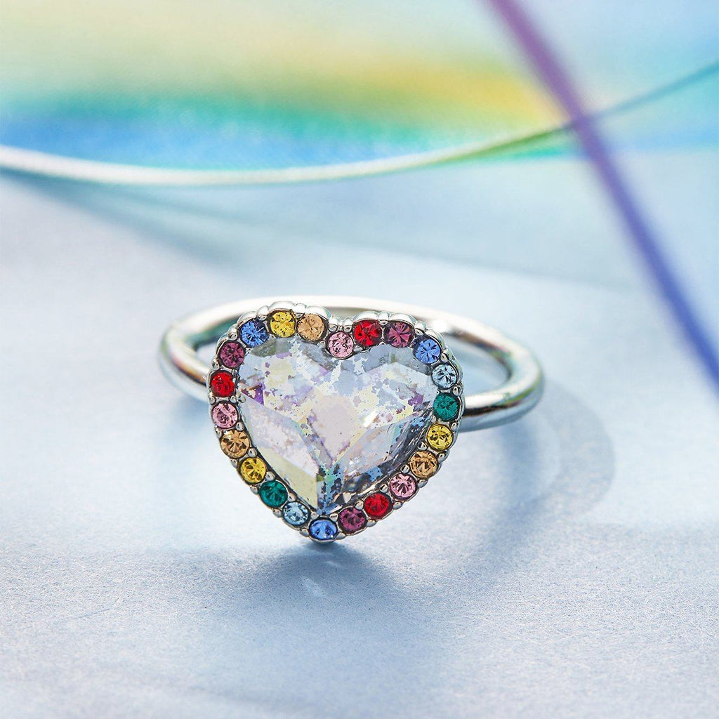 Crystal Heart Ring in Ombre