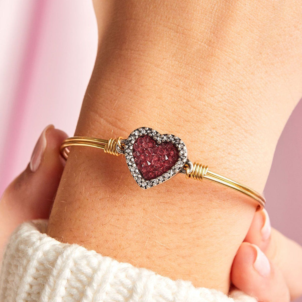 Heart Bangle Bracelet with Red Crystal Rocks