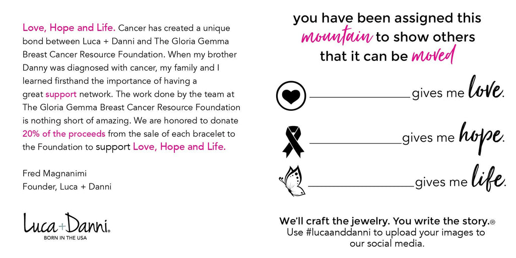 Love, Hope, Life Breast Cancer Awareness Bangle Bracelet-Bangle Bracelet-finish:-Luca + Danni