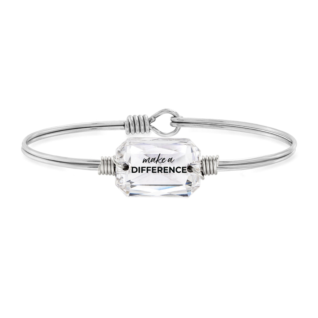 Make a Difference Bangle Bracelet choose finish:Silver Tone