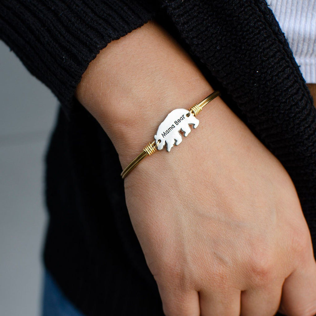 Mama Bear Bangle Bracelet choose finish: