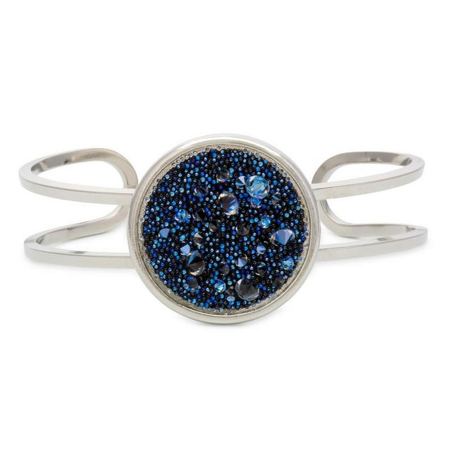 Kelsey Pave Cuff In Metallic Blue-Bangle Bracelet-finish:Silver Plated-Luca + Danni