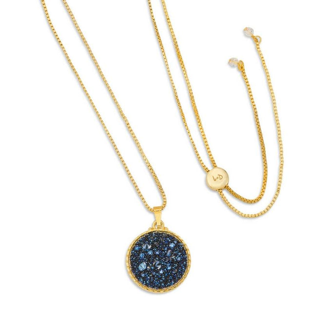 Kelsey Pave Necklace In Metallic Blue