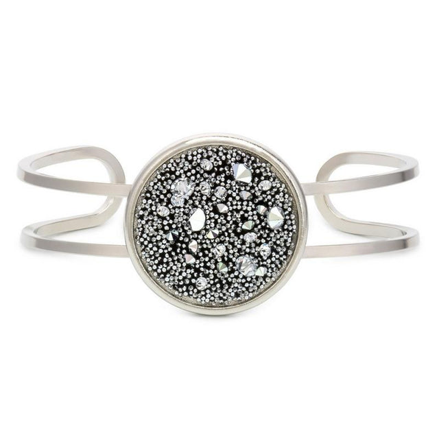 Kelsey Pave Cuff In Metallic Silver-Bangle Bracelet-finish:Silver Plated-Luca + Danni