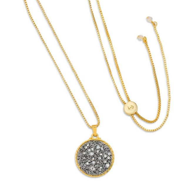 Kelsey Pave Necklace In Metallic Silver-necklace-finish:18kt Gold Plated-Luca + Danni