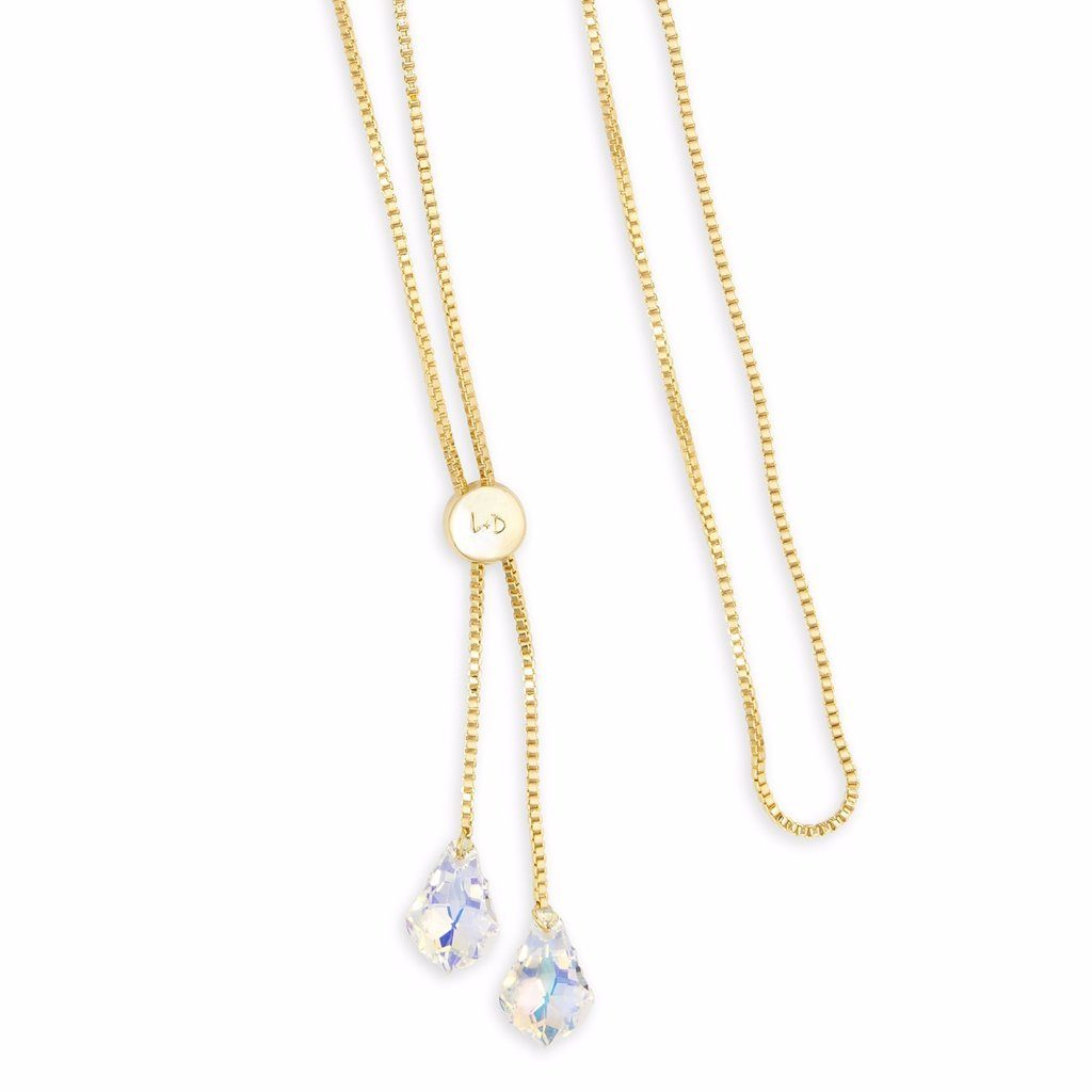Baroque Lariat Necklace in Crystal AB choose finish:18kt Gold Plated