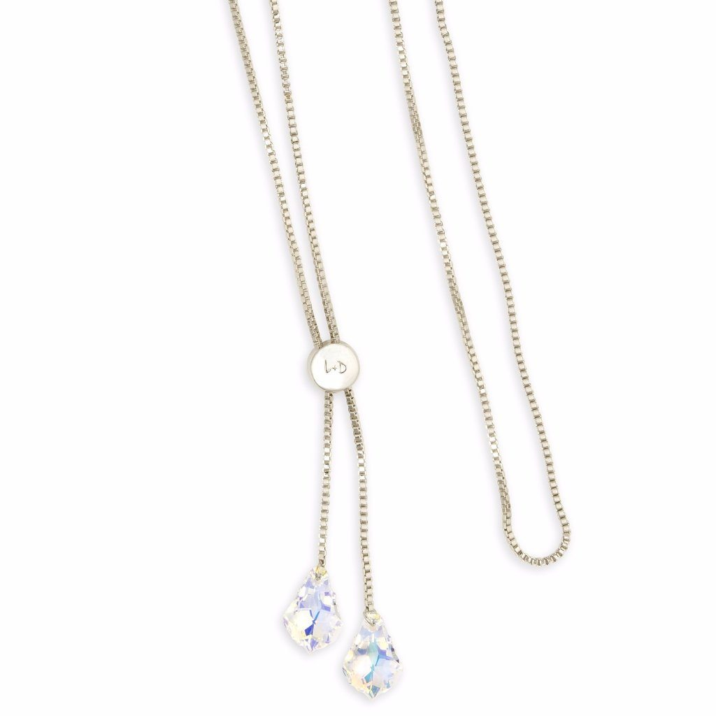 Baroque Lariat Necklace in Crystal AB choose finish:Silver Plated