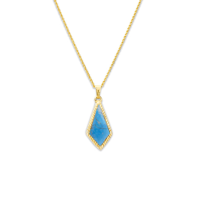 Sloane Necklace in Dyed Turquoise Howlite-Necklace-finish:18kt Gold Plated-Luca + Danni