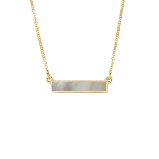 Hudson Necklace in Mother of Pearl-Necklace-finish:18kt Gold Plated-Luca + Danni