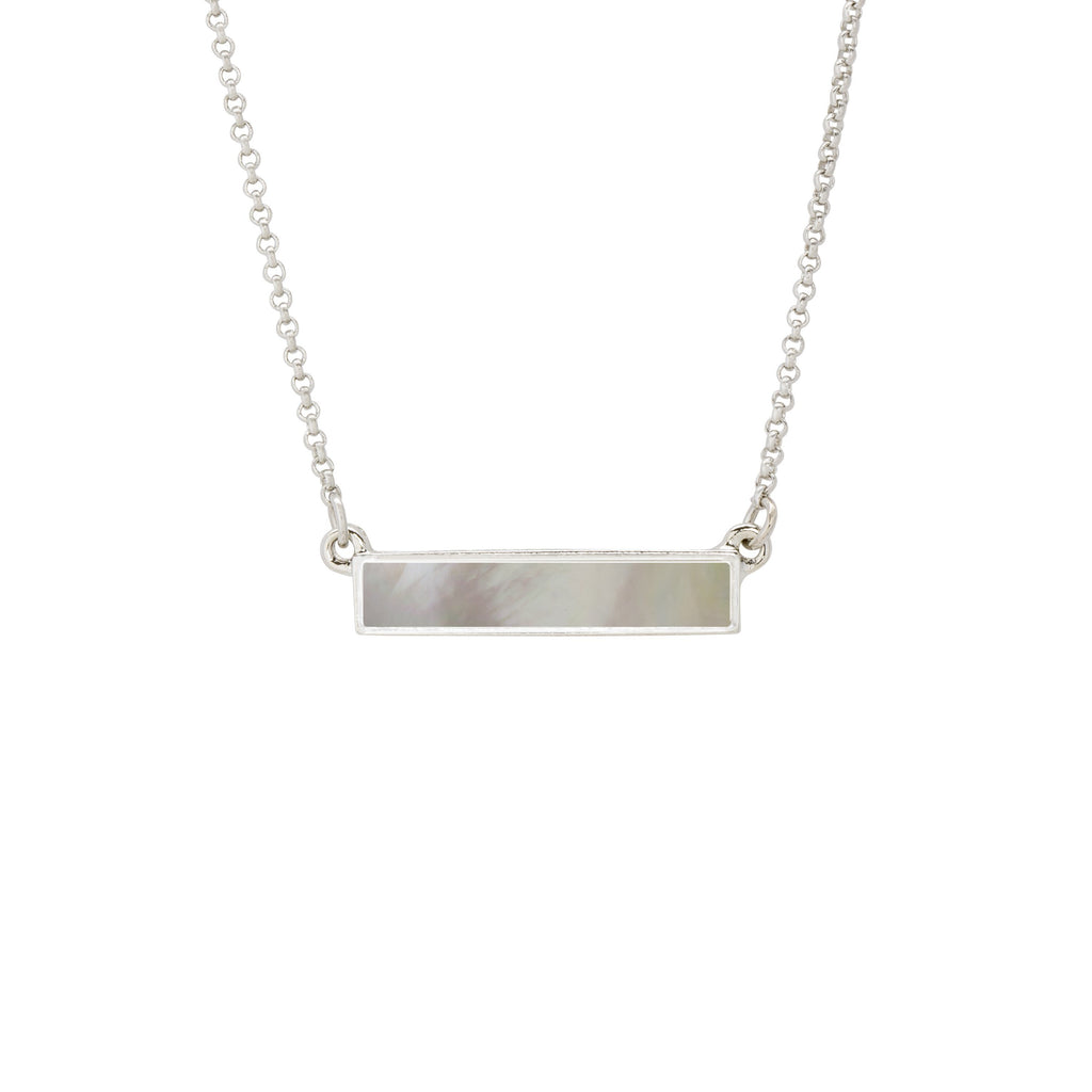 Hudson Necklace in Mother of Pearl-Necklace-finish:Silver Plated-Luca + Danni