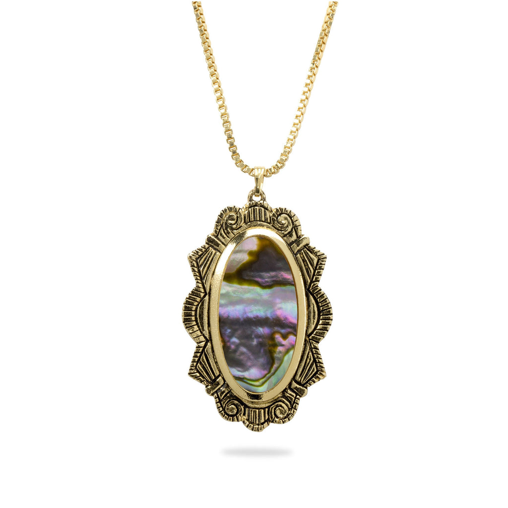 Abalone Shell Statement Necklace finish:18k Gold Plated