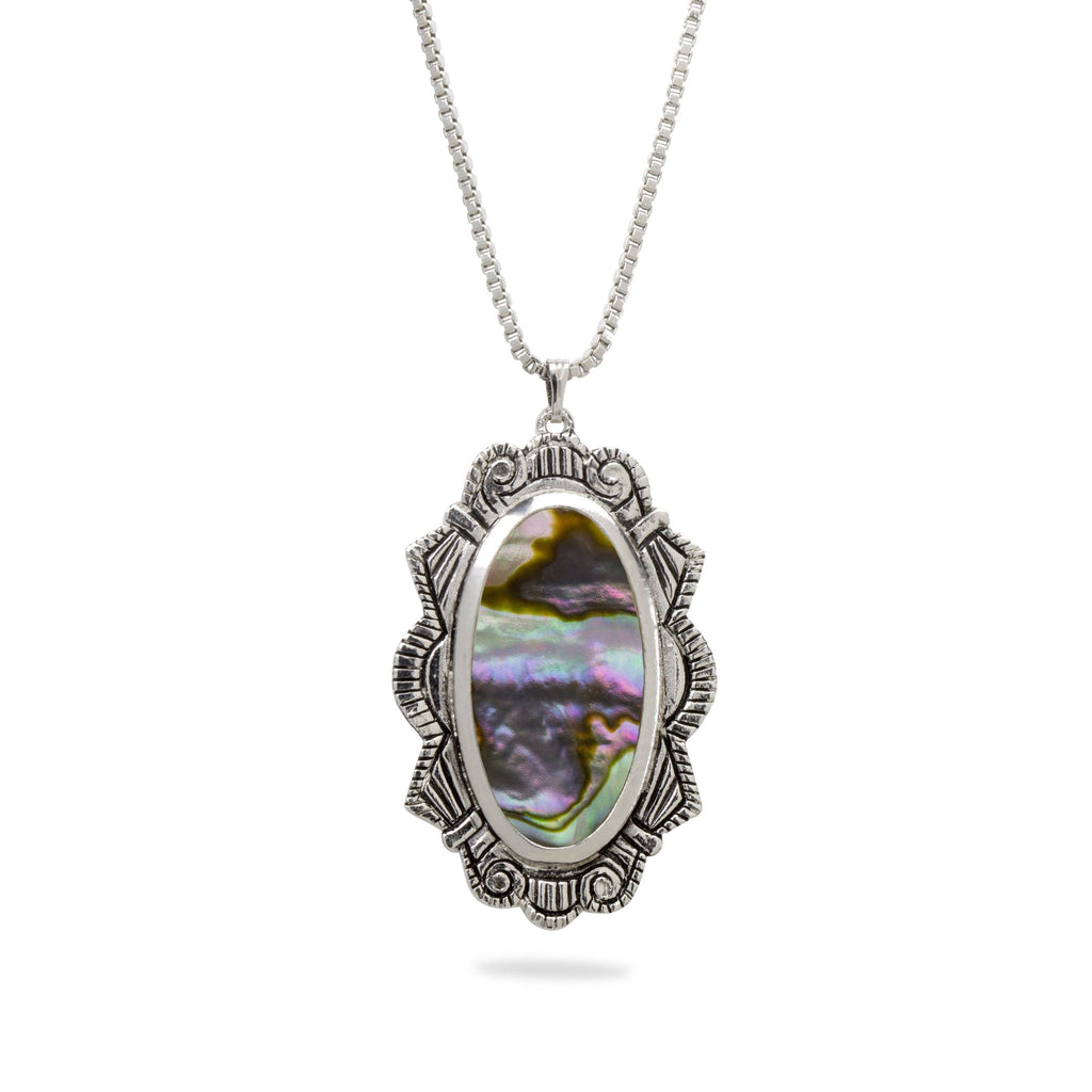 Abalone Shell Statement Necklace finish:Silver Plated