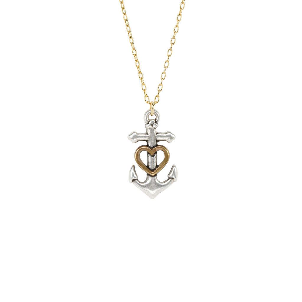 Anchor Heart Necklace-Necklace-finish:18k Gold Plated-Luca + Danni