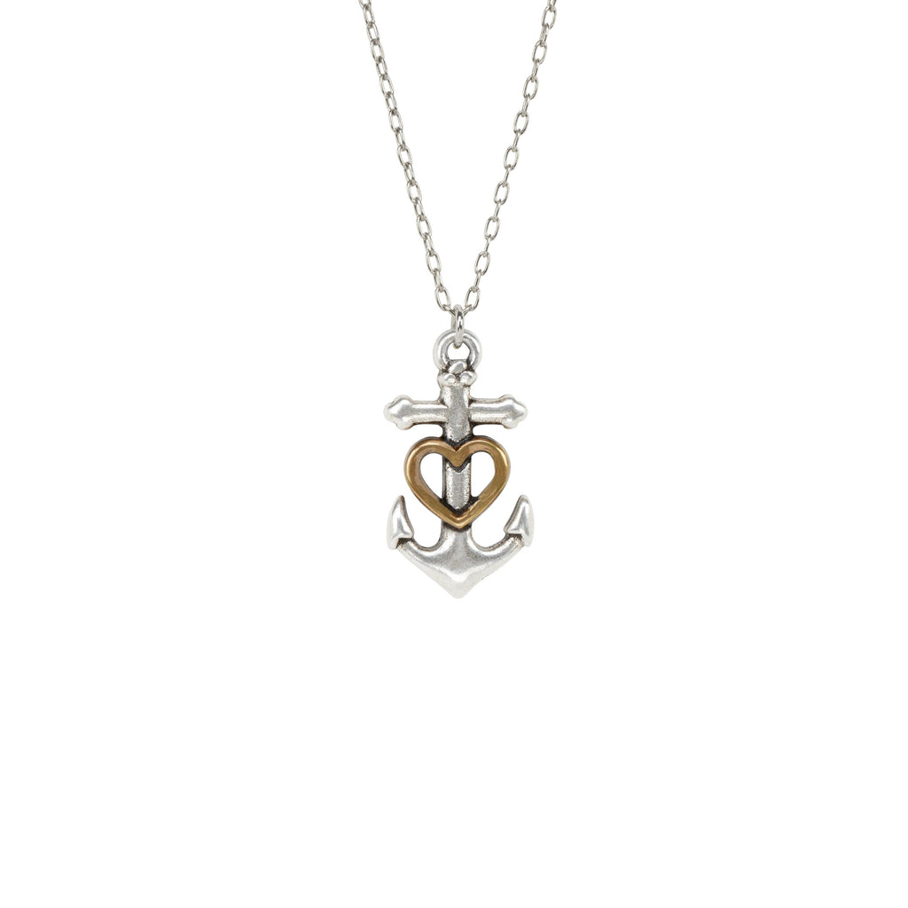 Anchor Heart Necklace-Necklace-finish:Silver Plated-Luca + Danni
