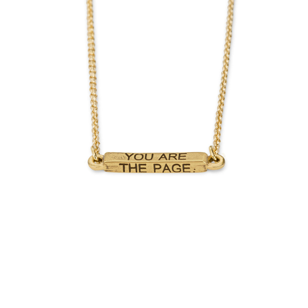 You Are The Page Necklace choose finish:18k Gold Plated