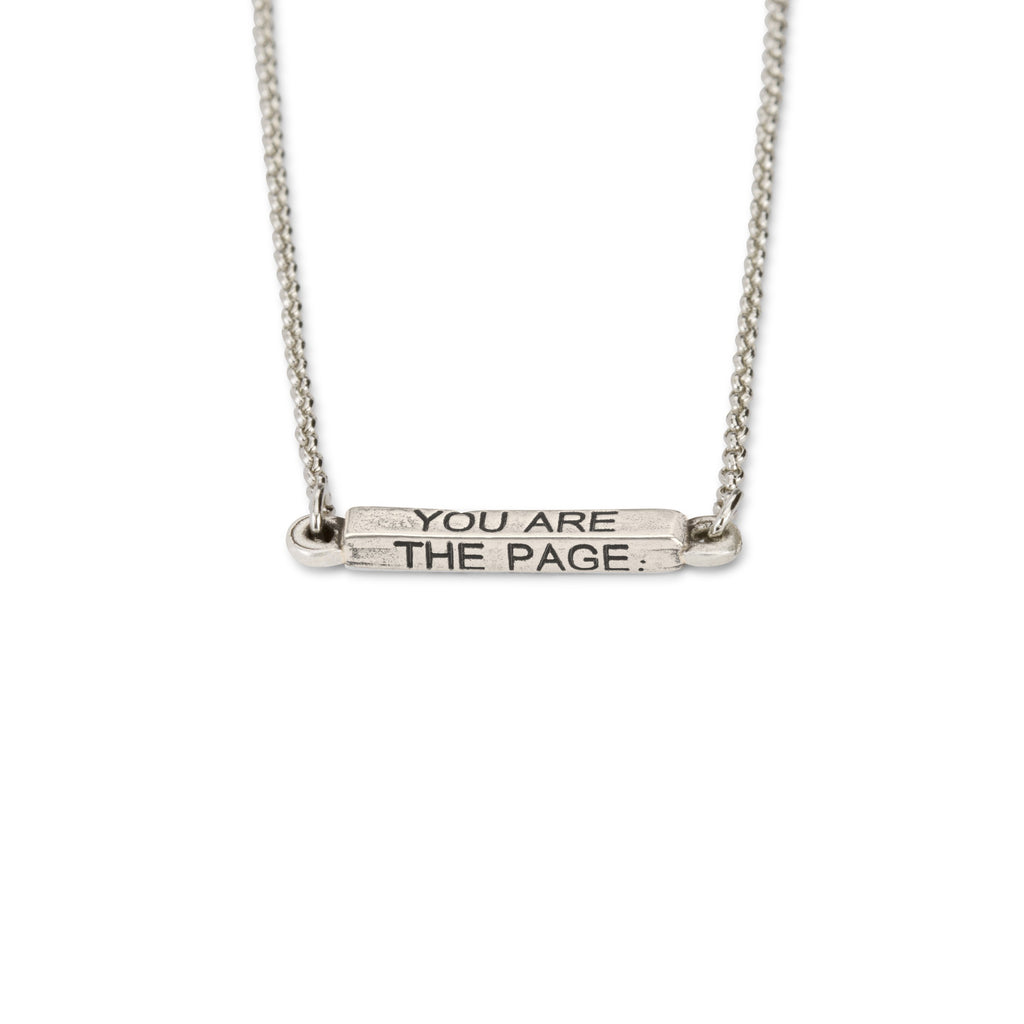 You Are The Page Necklace choose finish:Silver Plated