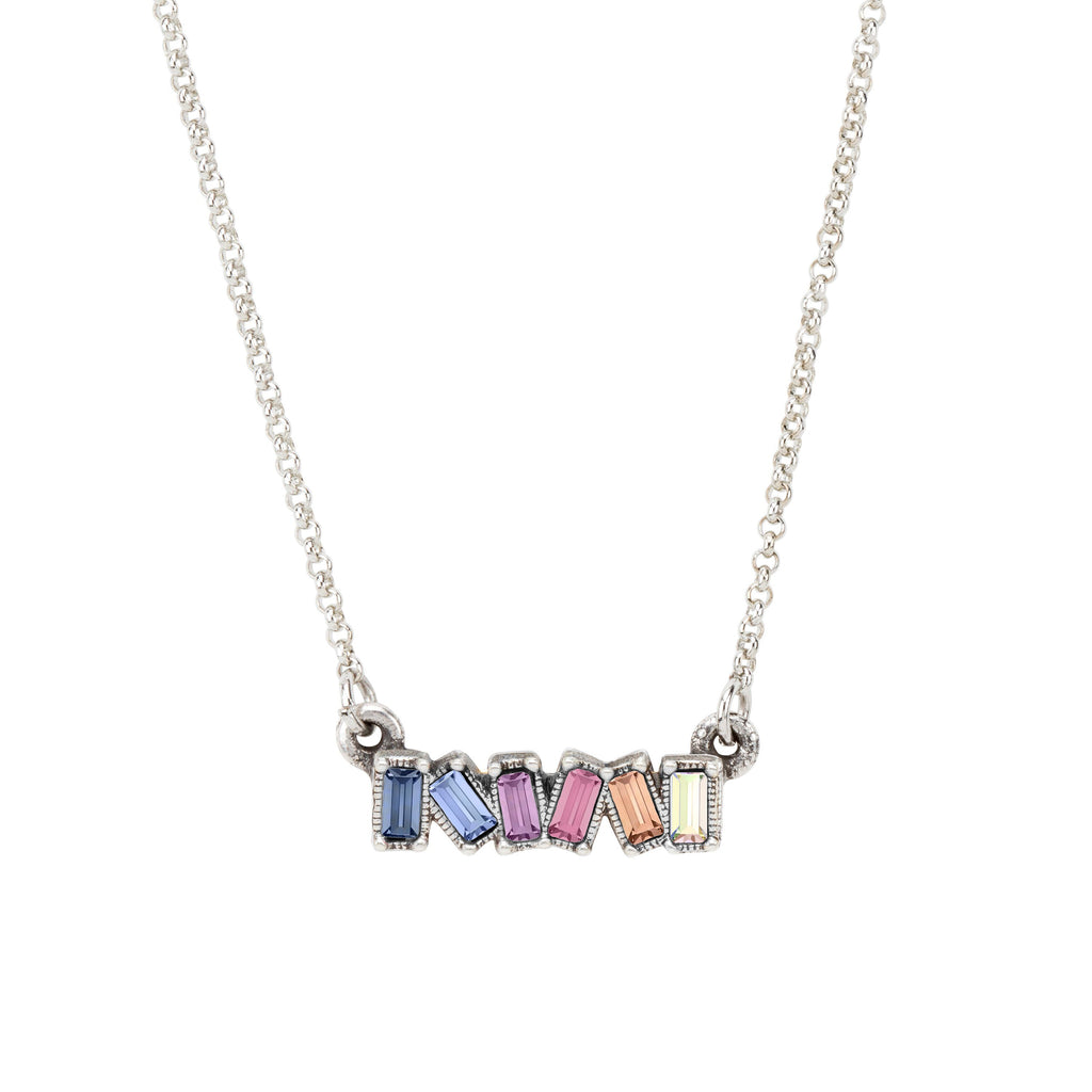 Mini Hudson Necklace in Light Ombre choose finish:Silver Plated