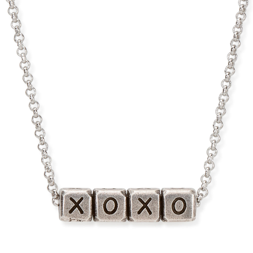 XOXO Blocks Necklace choose finish:Silver Plated