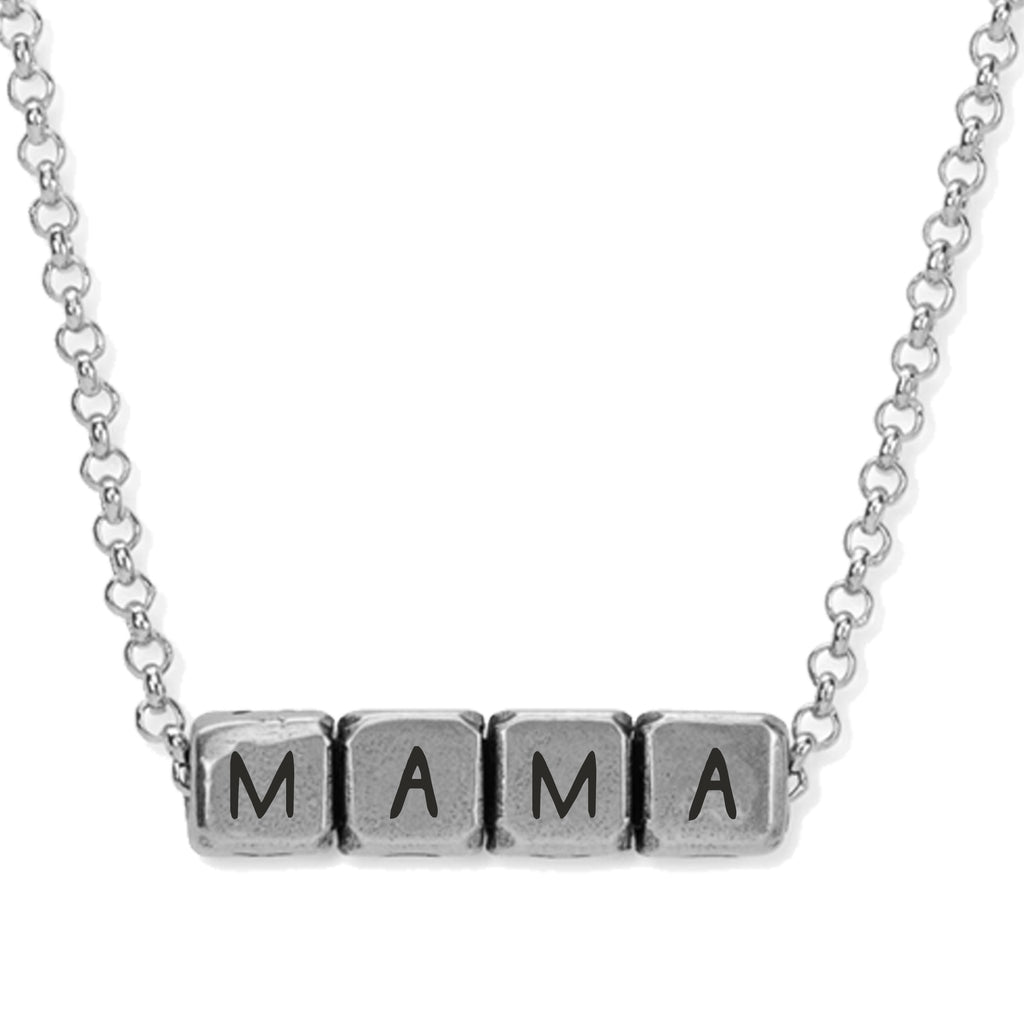 Mama Blocks Necklace choose finish:Silver Plated