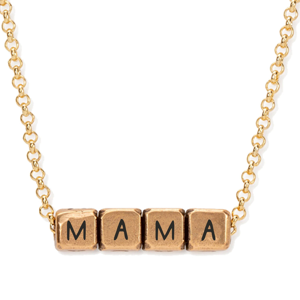 Mama Blocks Necklace choose finish:18k Gold Plated