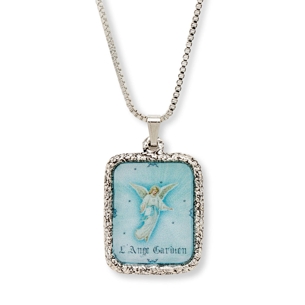 Guardian Angel Necklace choose finish:Silver Plated