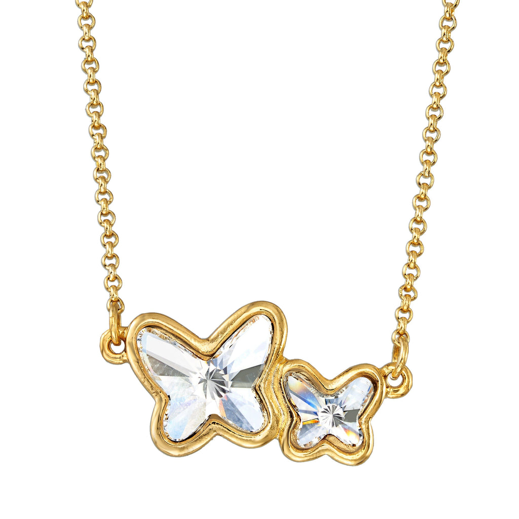 Butterflies Necklace in Crystal choose finish:18k Gold Plated choose crystal color:Crystal