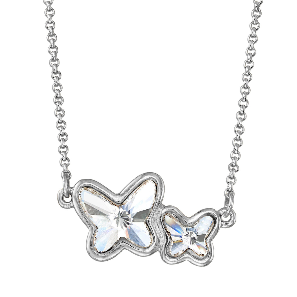 Butterflies Necklace in Crystal choose finish:Silver Plated choose crystal color:Crystal