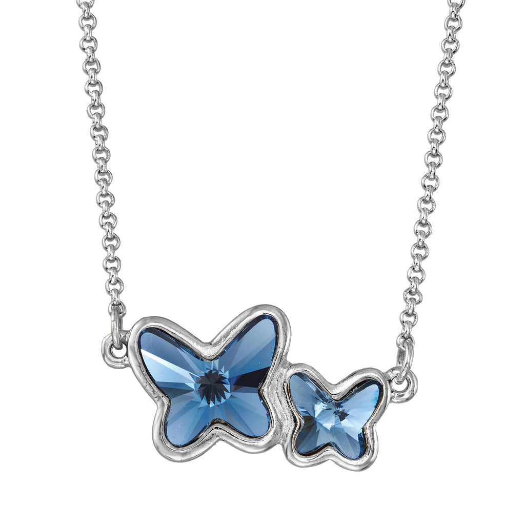 Butterflies Necklace in Crystal choose finish:Silver Plated choose crystal color:Denim Blue