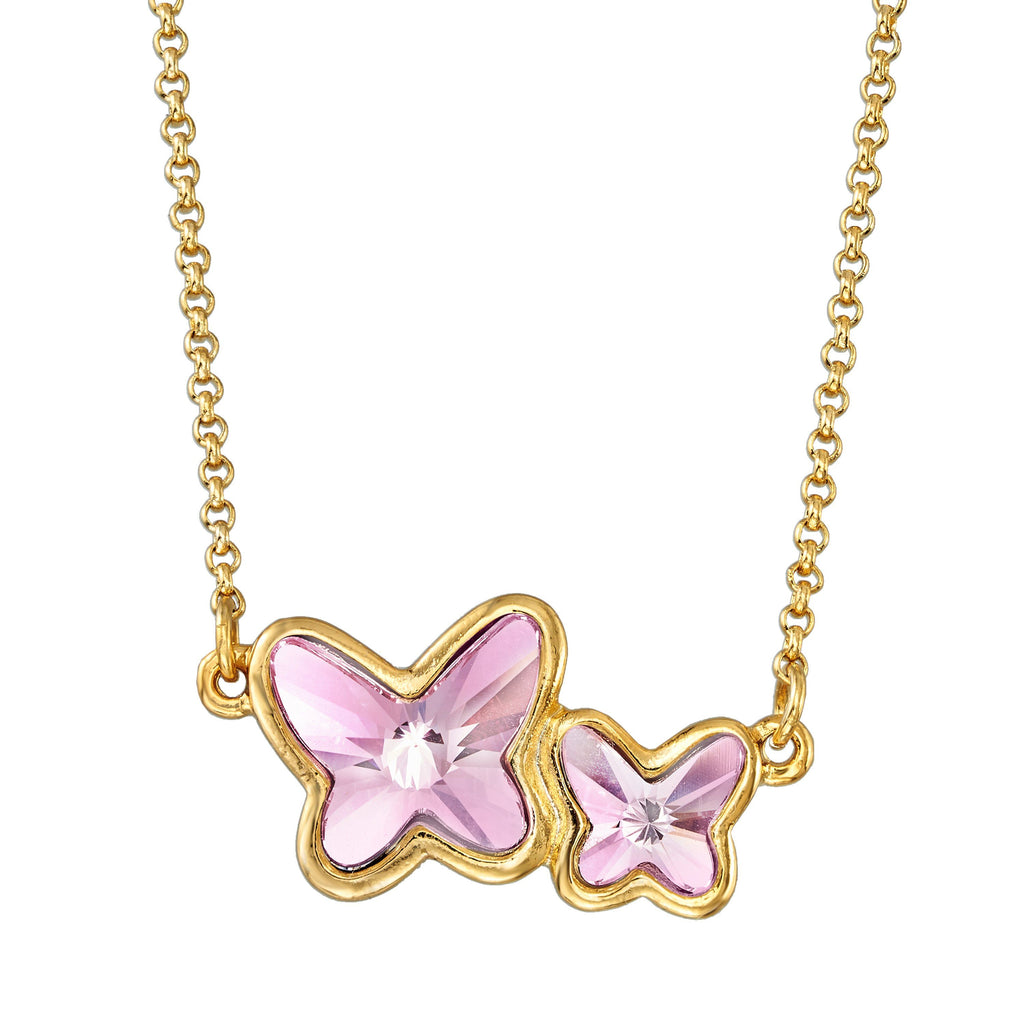 Butterflies Necklace in Crystal choose finish:18k Gold Plated choose crystal color:Light Rose