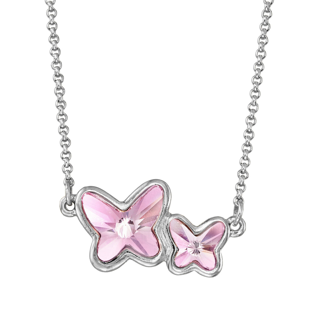 Butterflies Necklace in Crystal choose finish:Silver Plated choose crystal color:Light Rose