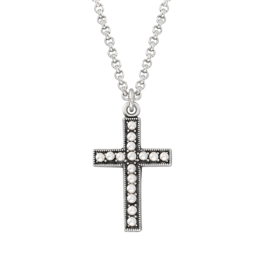 Crystal Pearl Cross Necklace choose finish:Silver Plated