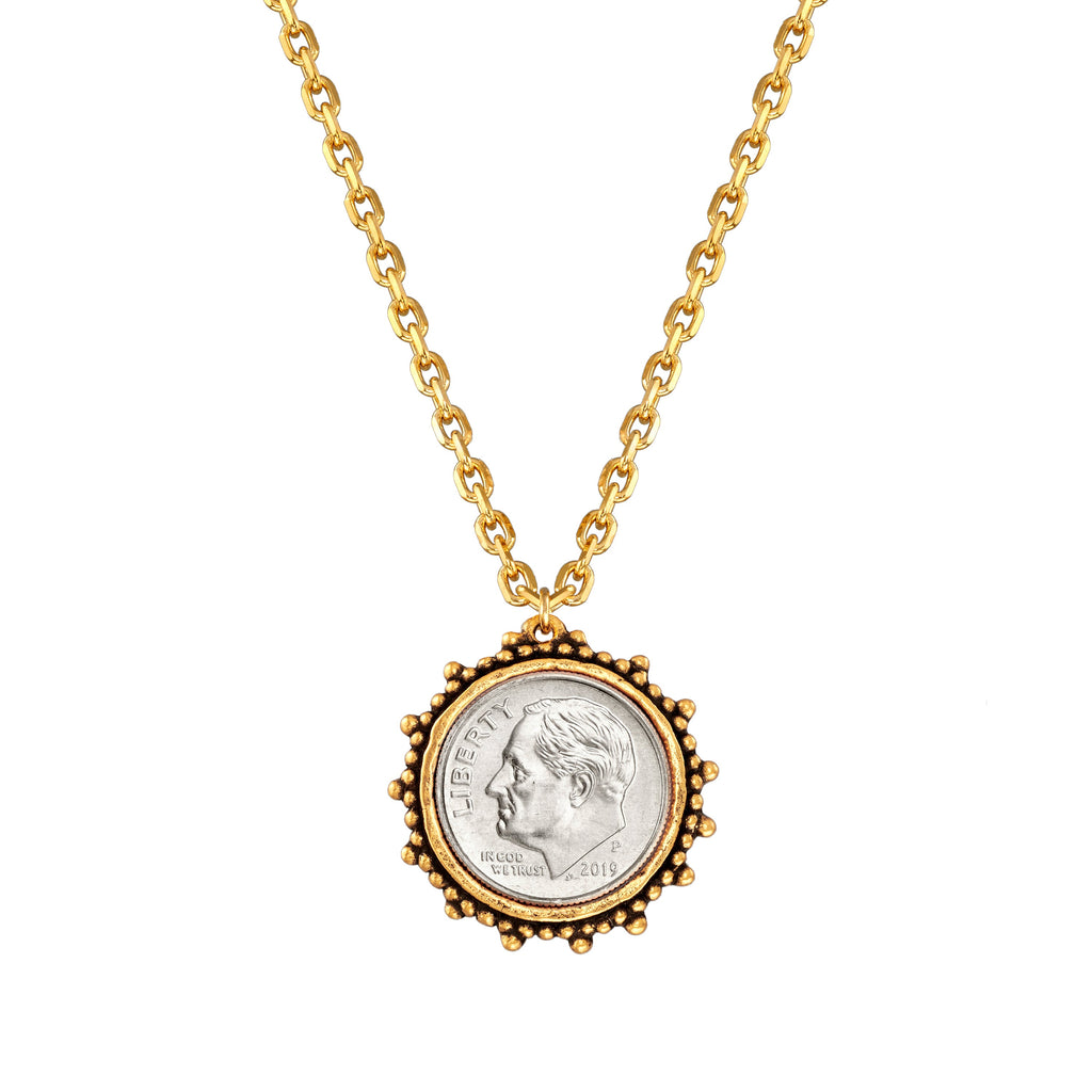 Divine Dime Necklace choose finish:18k Gold Plated