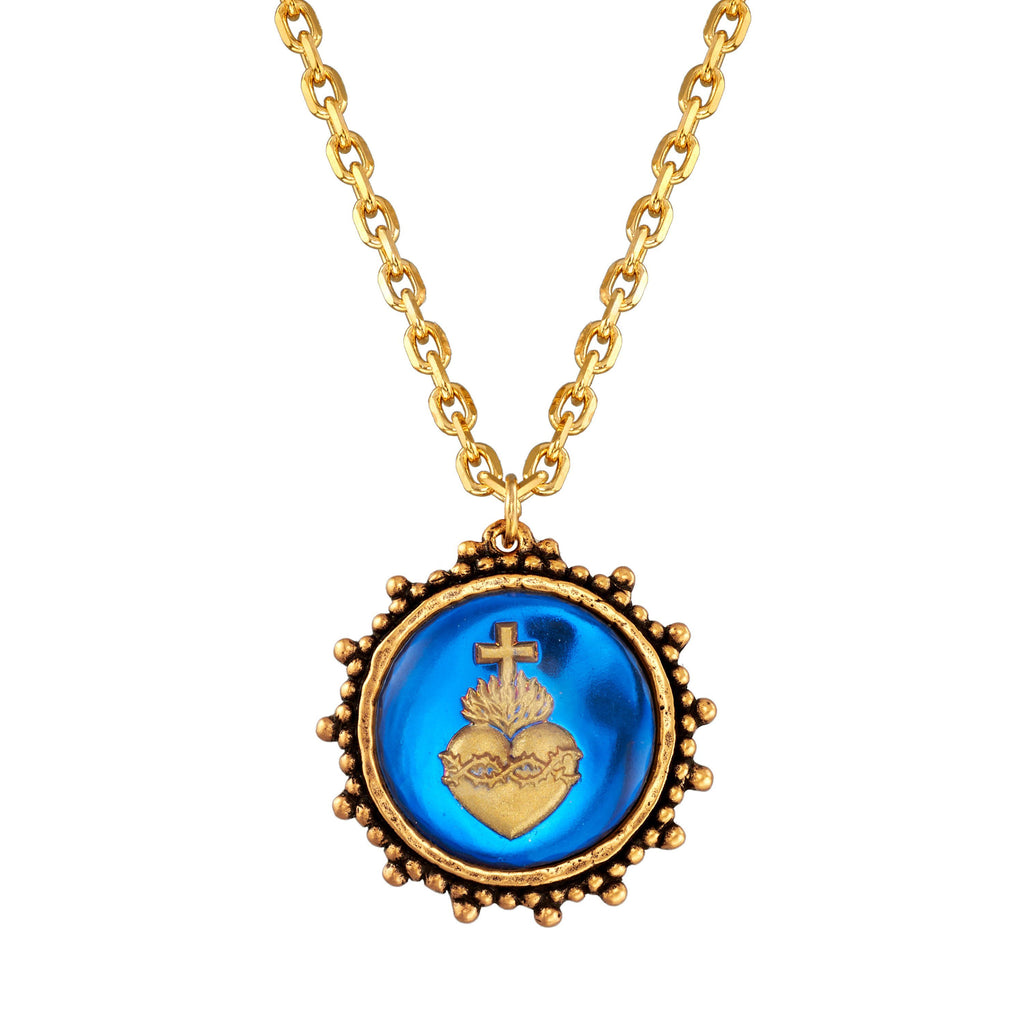 Sacred Heart Intaglio Necklace choose finish:18k Gold Plated