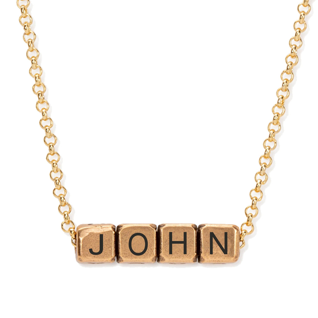 John 3:16 Blocks Necklace choose finish:18k Gold Plated