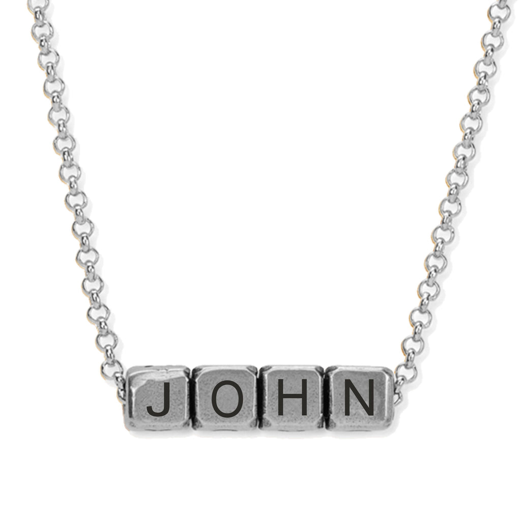 John 3:16 Blocks Necklace choose finish:Silver Plated