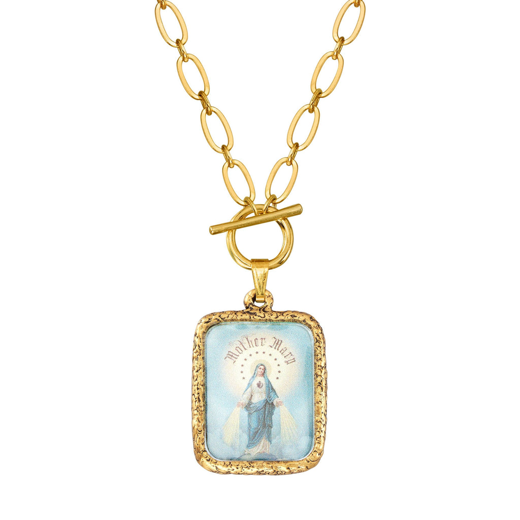 Immaculate Mother Toggle Necklace choose finish:18k Gold Plated