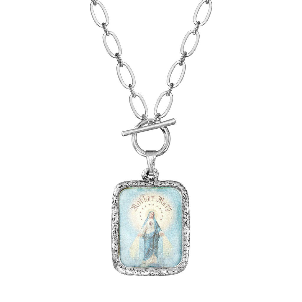 Immaculate Mother Toggle Necklace choose finish:Silver Plated