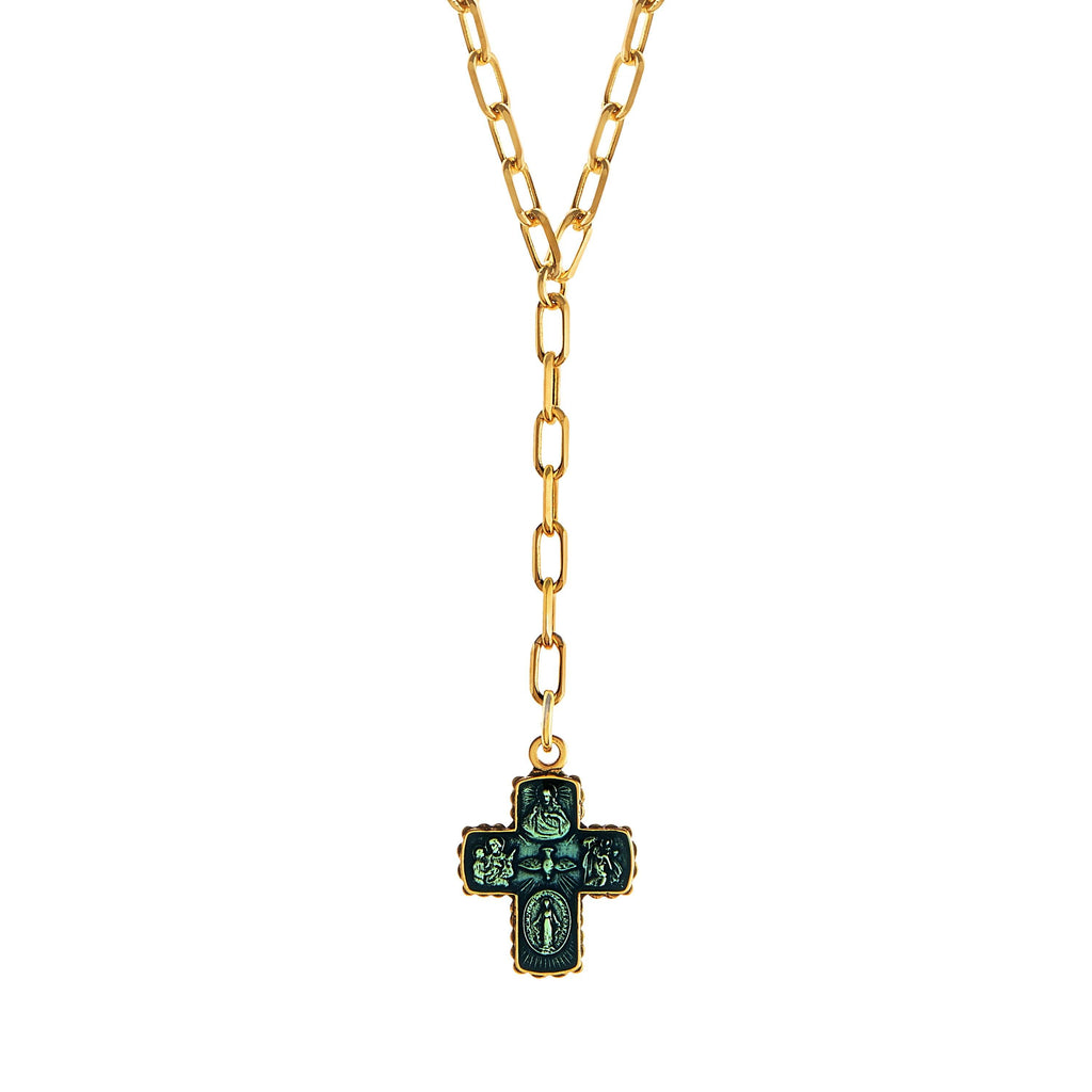 4 Way Cross Lariat Necklace choose finish:18k Gold Plated