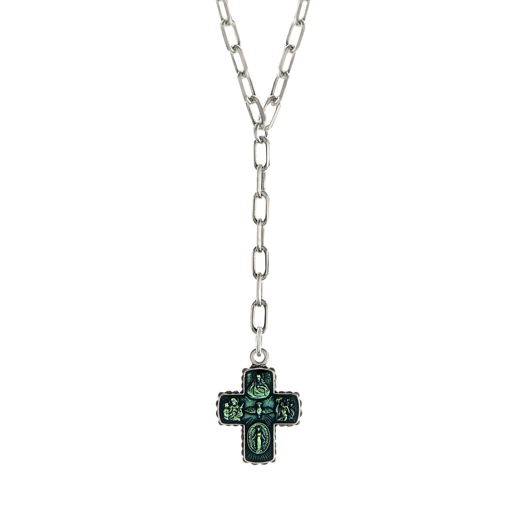 4 Way Cross Lariat Necklace choose finish:Silver Plated