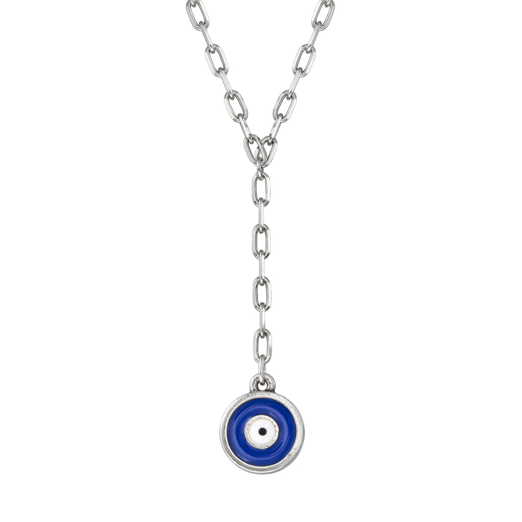 Evil Eye Lariat Necklace choose finish:Silver Plated