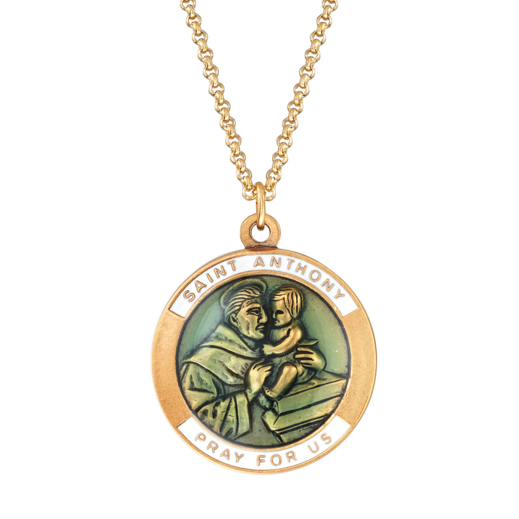 Saint Anthony Necklace choose finish:18kt gold plated